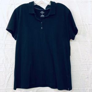 St Johns Bay Womens Black Polo Shirt Size XL